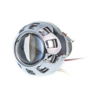 Биксеноновая линза Optima MOTO DYNAMIC CCFL 2.0 дюйма под лампу Н1 бленда круглая-807 подсветка колец CCFL