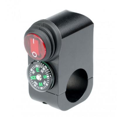 Выключатель влагозащищенный 2216B с компасом черный IP-65 арт: NL-KN-2216B