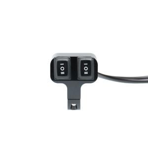 Выключатель влагозащищенный 2530, двухкнопочный, 3позиц кнопки, цвет корпуса черный, под трубу D25мм