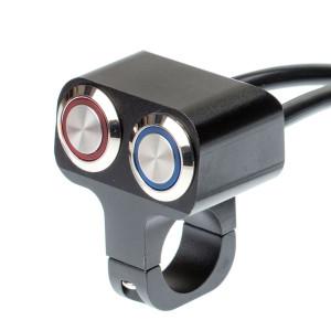 Выключатель влагозащищенный 2253, двукнопочный, не фиксируемый, черный, под трубу D22мм
