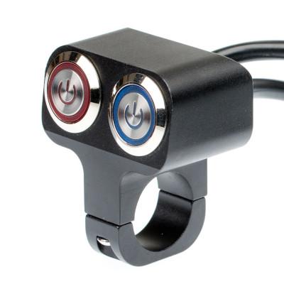 Выключатель влагозащищенный 2254, двукнопочный, фиксируемый, черный, под трубу D22мм арт: NL-KN-2254B