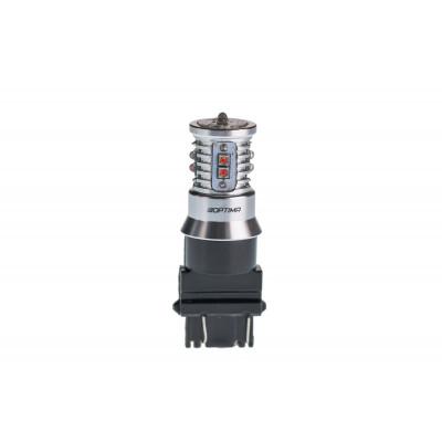 Светодиодная лампа 3157 Optima Premium CREE MINI красный цвет, CAN, 12-24V, двухконтактная арт: OP-3157-CAN-R-50W