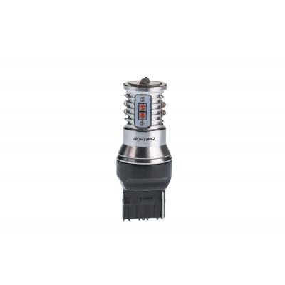 Светодиодная лампа 7440 (W21) Optima Premium CREE MINI, Красный цвет, CAN, 12-24V арт: OP-7440-CAN-R-50W