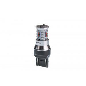 Светодиодная лампа 7443 (W21/5W) Optima Premium CREE MINI Красный цвет, CAN, 12-24V, двухконтактная арт: OP-7443-CAN-R-50W