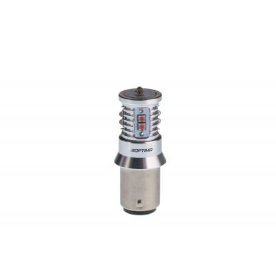 Светодиодная лампа P21/4W Optima Premium CREE MINI, красный цвет, CAN, двухконтактная арт: OP-P21/4W-CAN-R-50W