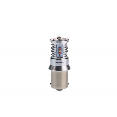 Светодиодная лампа P21W Optima Premium CREE MINI, красный цвет CAN, 12-24V арт: OP-P21W-CAN-R-50W