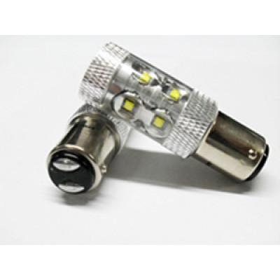 Светодиодная лампа P21/5W Optima Premium CREE*10LED*5W, 5100K, 50W, 12-24V, (BaY15d), двухконтактная, 1 шт. арт: OP-P21/5W-50W