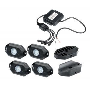 Подсветка автомобиля универсальная набор 4шт. RGB, Bluetooth, IP68, Optima Premium, 4*9W, с пультом арт: OP-MAR-U4-RGB