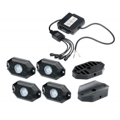 Подсветка автомобиля универсальная набор 4шт. RGB, Bluetooth, IP68, Optima Premium, 4*9W, с пультом