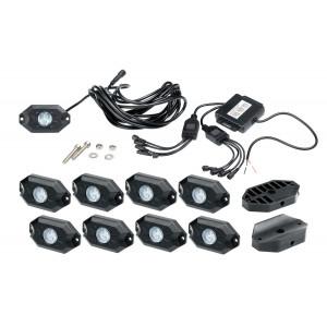 Подсветка автомобиля универсальная набор 8шт. RGB, Bluetooth, IP68, Optima Premium, 8*9W, с пультом арт: OP-MAR-U8-RGB