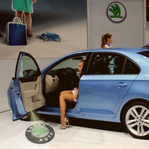 Проекция логотипа автомобиля в штатное место подсветки двери