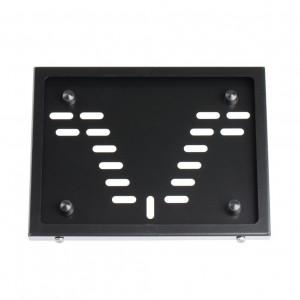 Рамка номерного знака МОТО Новый ГОСТ из стали, порошковая окраска, Черная.