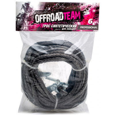 Трос для лебедки синтетический OffRoadTeam Professional 6мм х 15м, с крюком арт: ORT-PROF-6/15